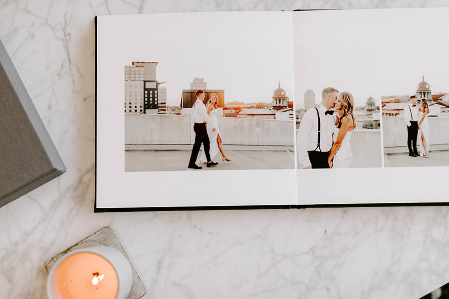 Stylish wedding album designed by Align Album Design and printed by Miller's Professional Imaging La